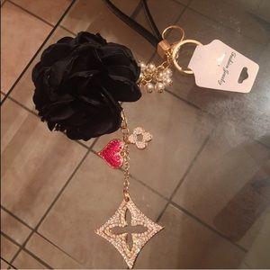 Beautiful clover and heart Keychain charm